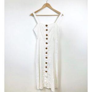 Forever 21 white button front midi dress